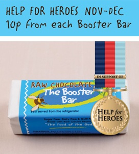 10p from each booster bar sale during November goes to help for heroes