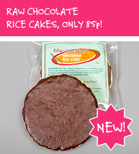 Raw Chocolate Wholegrain Rice Cakes with Vanilla